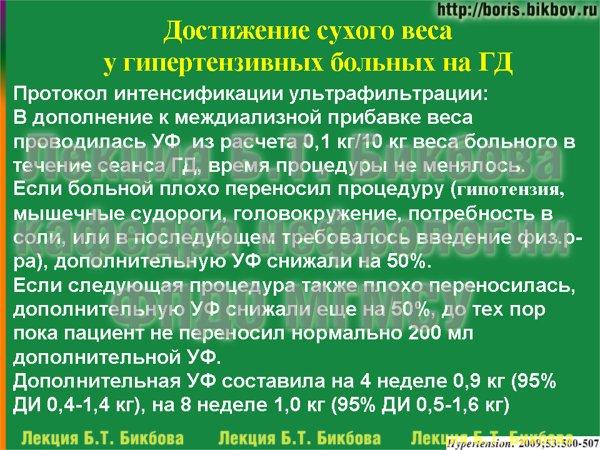 Протокол интенсификации ультрафильтрации