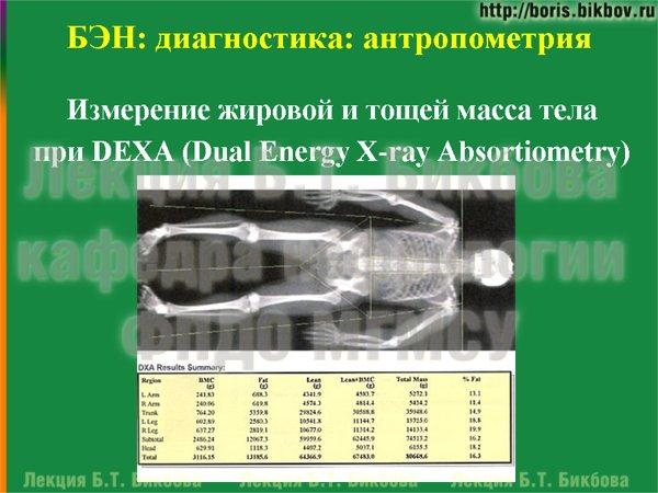 Измерение жировой и тощей масса тела при DEXA (Dual Energy X-ray Absortiometry)