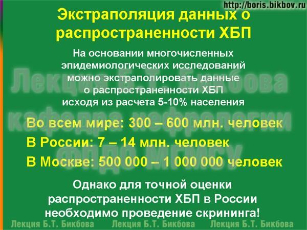 Экстраполяция данных о распространенности хронической болезни почек в мире, России и Москве