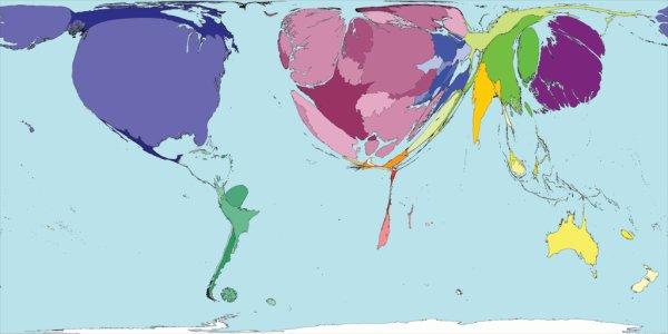 Карта мира с отображением доли каждой страны в общем объеме статей в научных журналах